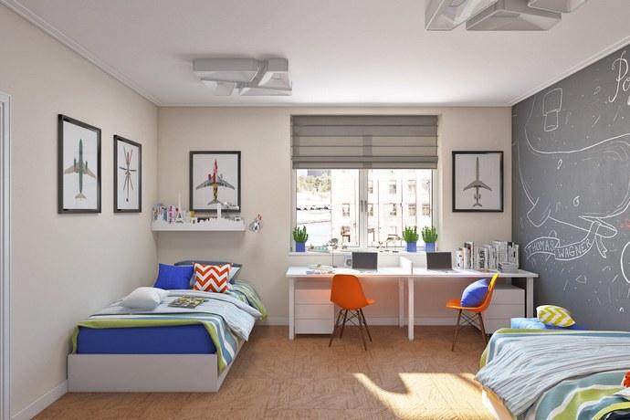 серые стены в детской комнате для двух мальчиков