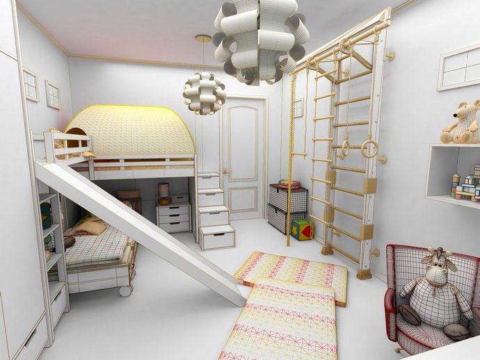 шведская стенка в днтской комнате для двух мальчиков