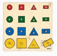 детская игра-доска с геометрическими фигурами разных цветов и размеров