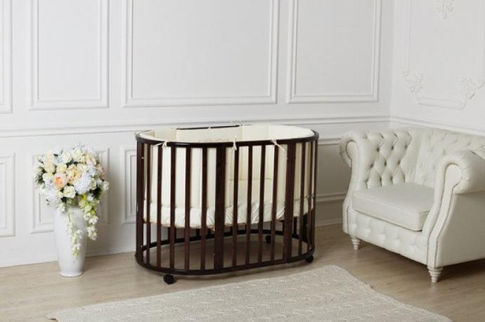 круглая детская кроватка трансформер для новорожденных